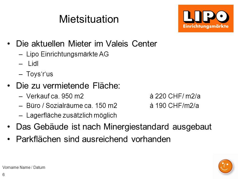 6 Mietsituation Die aktuellen Mieter im Valeis Center –Lipo Einrichtungsmärkte AG – Lidl –Toys'r'us Die zu vermietende Fläche: –Verkauf ca. 950 m2 à 2