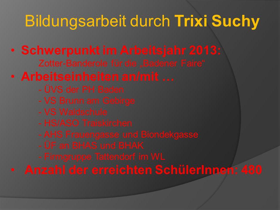 """Bildungsarbeit durch Trixi Suchy Schwerpunkt im Arbeitsjahr 2013: Zotter-Banderole für die """"Badener Faire"""" Arbeitseinheiten an/mit … - ÜVS der PH Bade"""