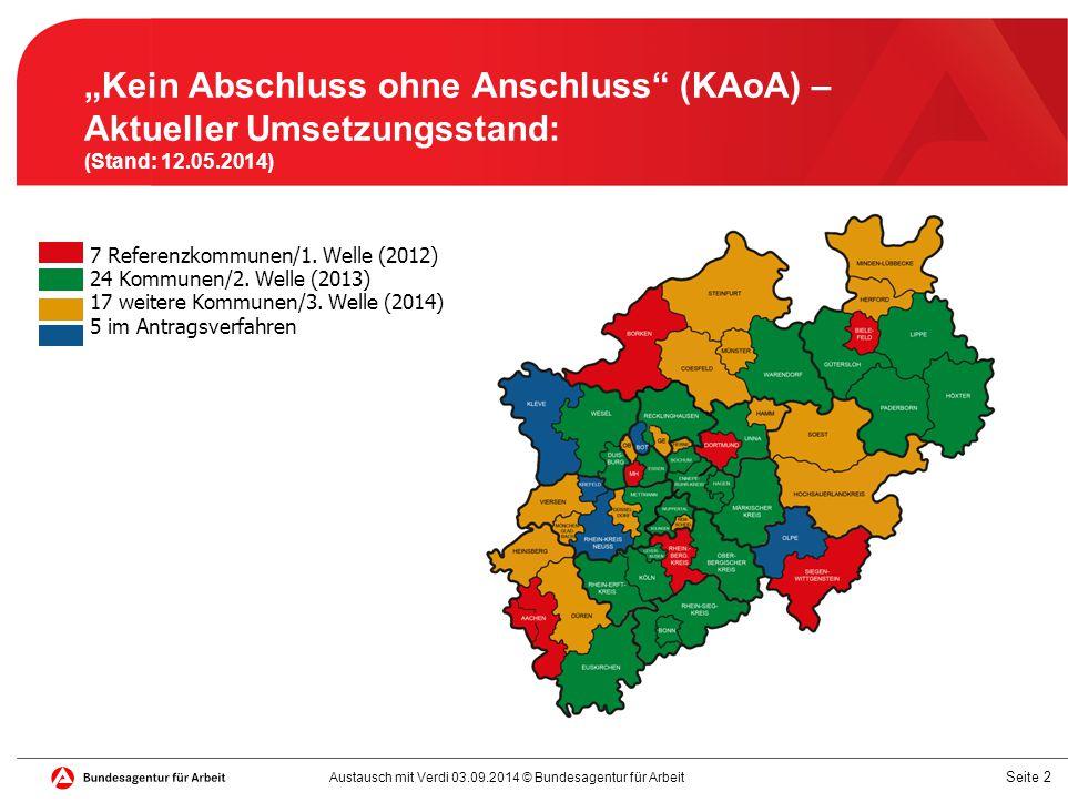 "Seite 2 ""Kein Abschluss ohne Anschluss"" (KAoA) – Aktueller Umsetzungsstand: (Stand: 12.05.2014) 7 Referenzkommunen/1. Welle (2012) 24 Kommunen/2. Well"