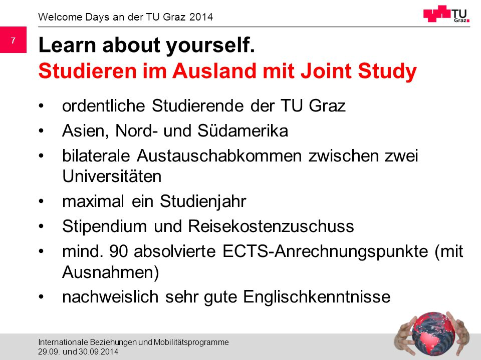 7 Welcome Days an der TU Graz Learn about yourself.