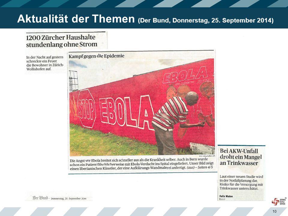 10 Aktualität der Themen (Der Bund, Donnerstag, 25. September 2014)