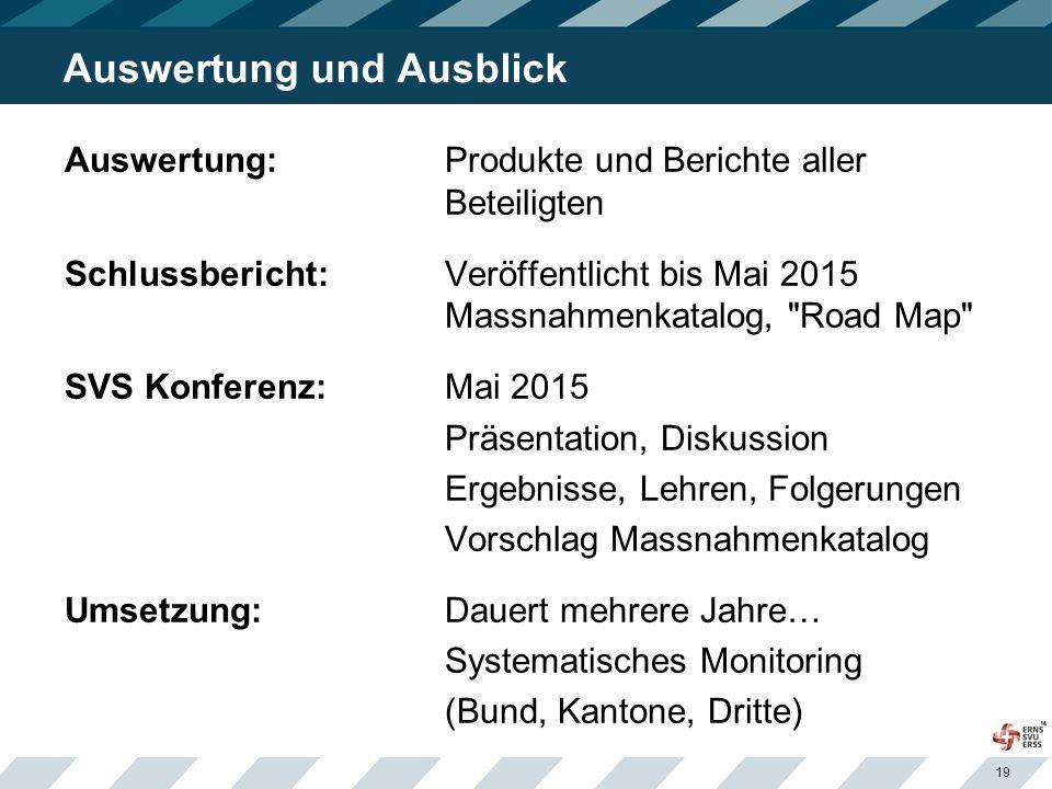 19 Auswertung und Ausblick Auswertung: Produkte und Berichte aller Beteiligten Schlussbericht:Veröffentlicht bis Mai 2015 Massnahmenkatalog,