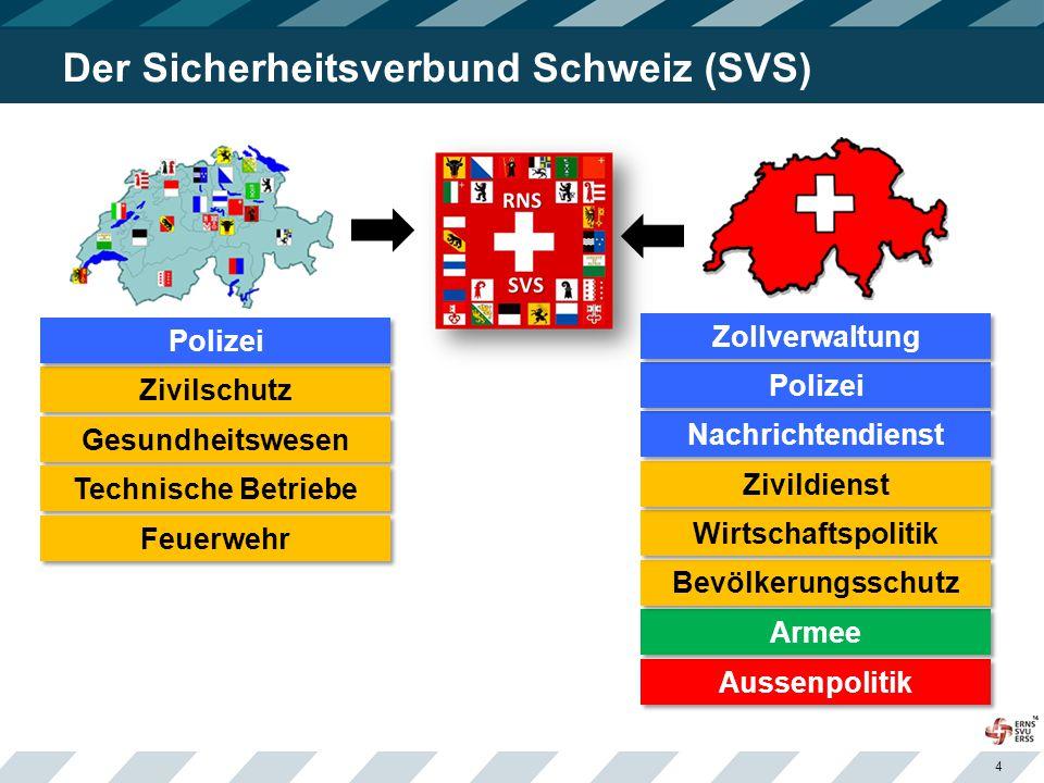 4 Der Sicherheitsverbund Schweiz (SVS) Zivilschutz Gesundheitswesen Technische Betriebe Feuerwehr Polizei Aussenpolitik Armee Bevölkerungsschutz Wirtschaftspolitik Zivildienst Nachrichtendienst Polizei Zollverwaltung