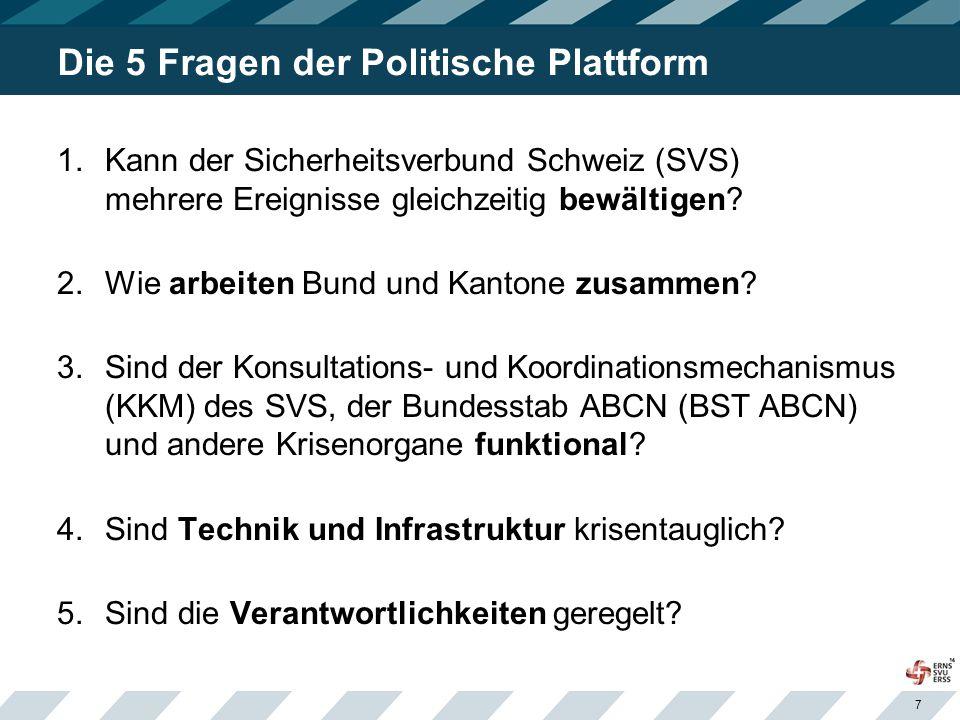 7 Die 5 Fragen der Politische Plattform 1.Kann der Sicherheitsverbund Schweiz (SVS) mehrere Ereignisse gleichzeitig bewältigen? 2.Wie arbeiten Bund un