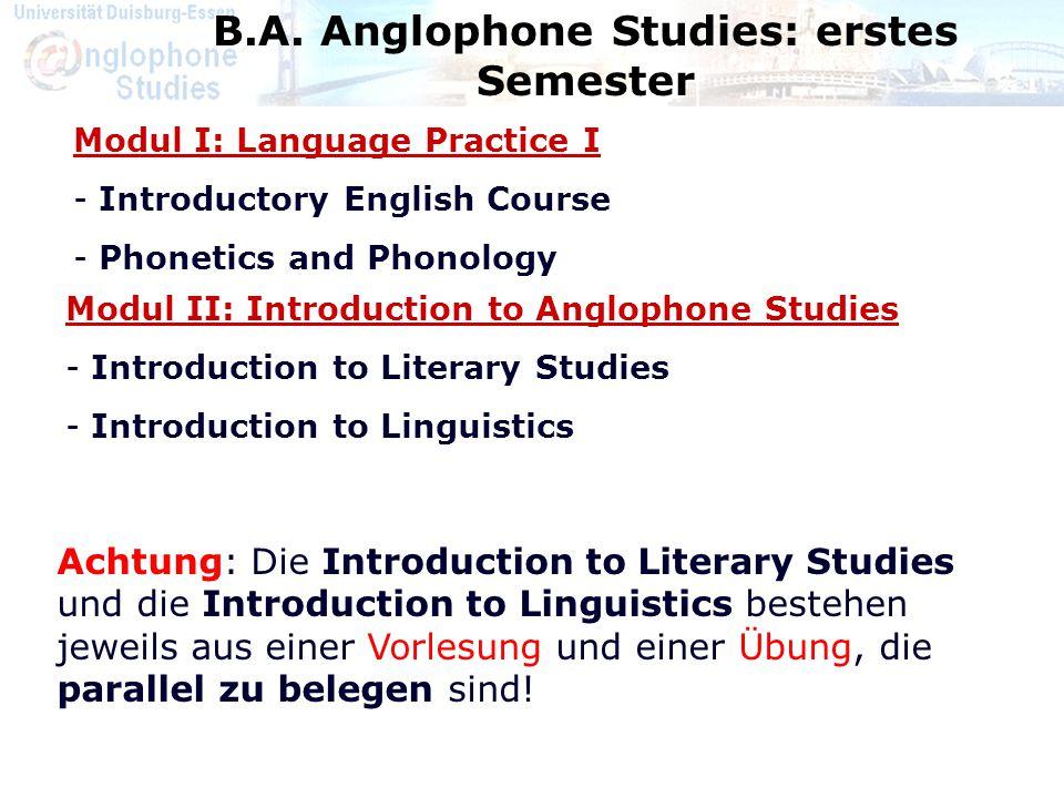 B.A. Anglophone Studies: erstes Semester Modul II: Introduction to Anglophone Studies - Introduction to Literary Studies - Introduction to Linguistics