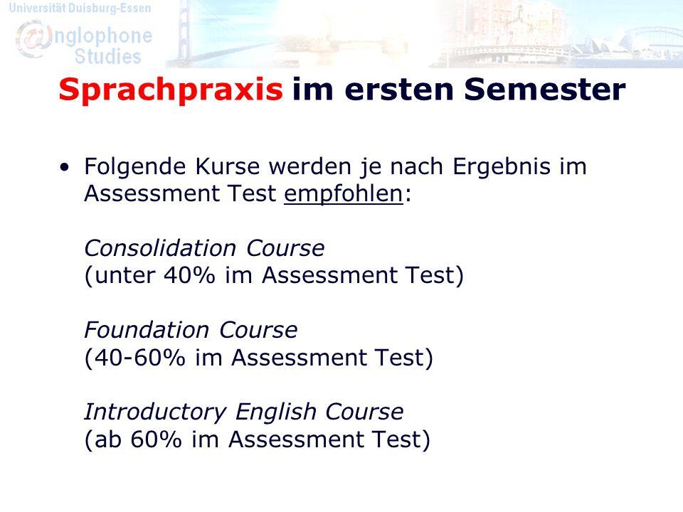 Sprachpraxis im ersten Semester Folgende Kurse werden je nach Ergebnis im Assessment Test empfohlen: Consolidation Course (unter 40% im Assessment Tes