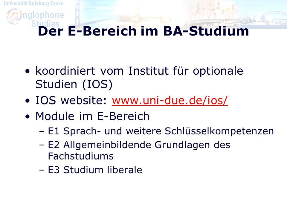 Der E-Bereich im BA-Studium koordiniert vom Institut für optionale Studien (IOS) IOS website: www.uni-due.de/ios/www.uni-due.de/ios/ Module im E-Berei