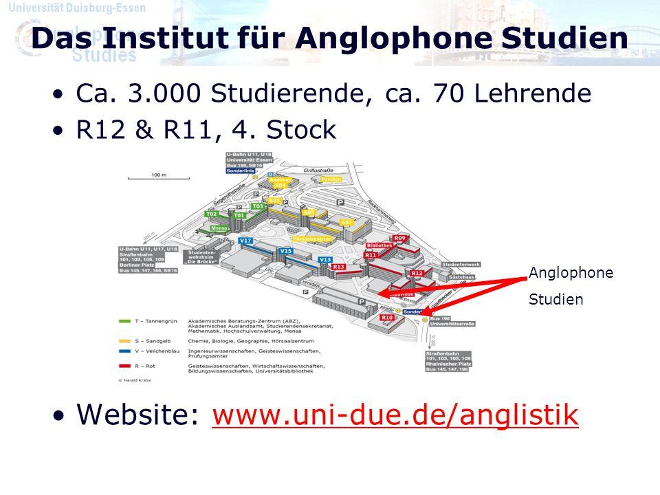 Das Institut für Anglophone Studien Ca. 3.000 Studierende, ca. 70 Lehrende R12 & R11, 4. Stock Website: www.uni-due.de/anglistikwww.uni-due.de/anglist