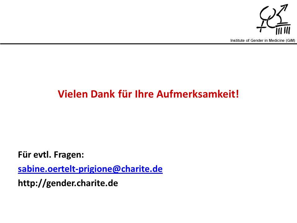 Vielen Dank für Ihre Aufmerksamkeit! Für evtl. Fragen: sabine.oertelt-prigione@charite.de http://gender.charite.de Institute of Gender in Medicine (Gi