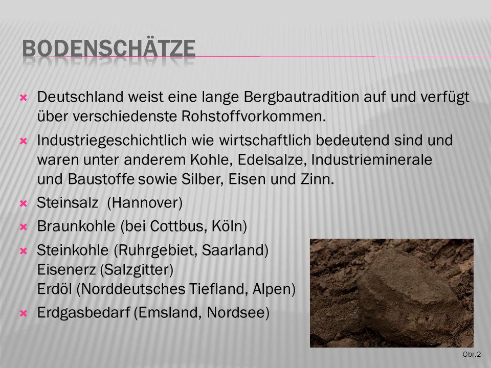 Obr.2  Deutschland weist eine lange Bergbautradition auf und verfügt über verschiedenste Rohstoffvorkommen.  Industriegeschichtlich wie wirtschaftli
