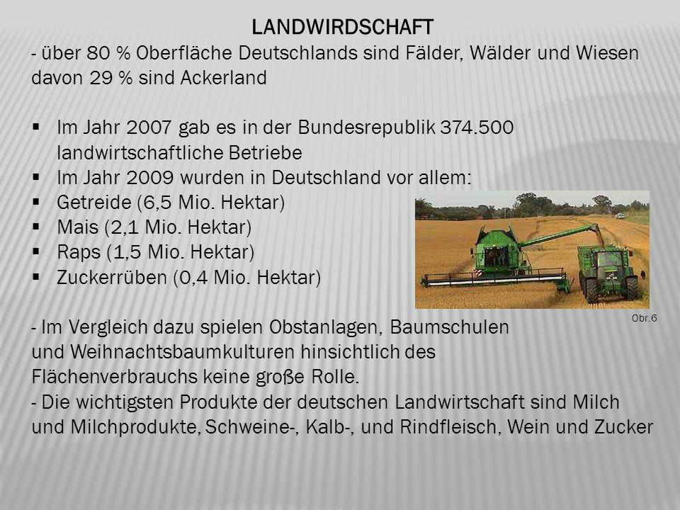 LANDWIRDSCHAFT - über 80 % Oberfläche Deutschlands sind Fälder, Wälder und Wiesen davon 29 % sind Ackerland  Im Jahr 2007 gab es in der Bundesrepubli