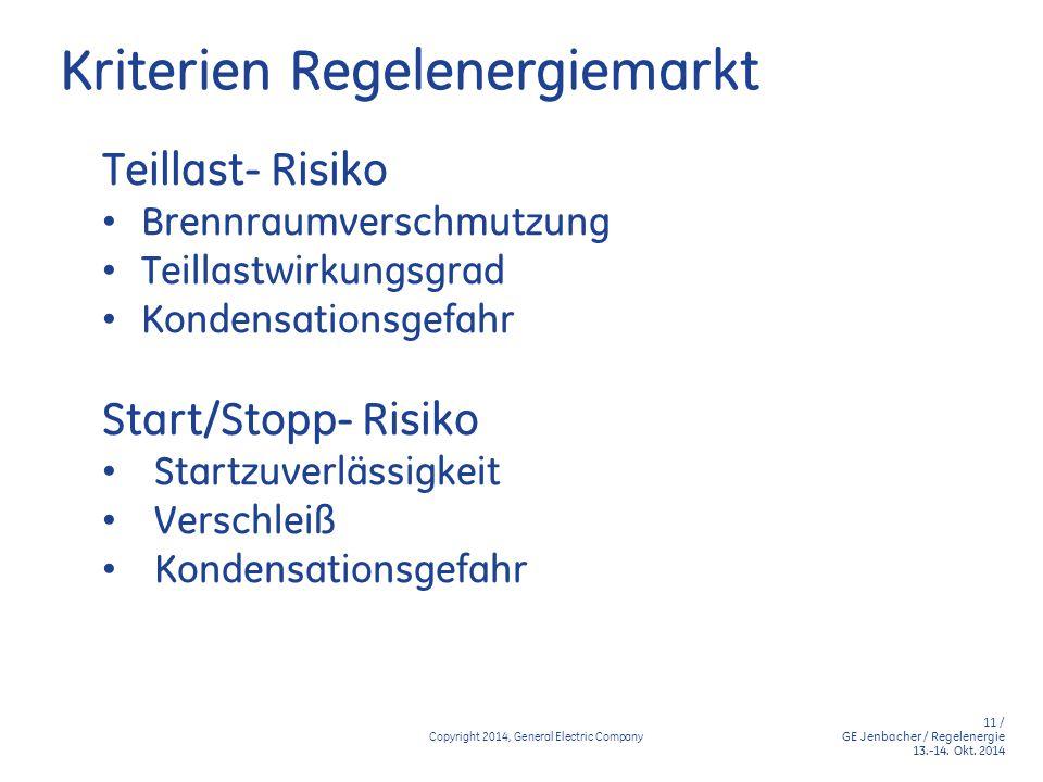 11 / GE Jenbacher / Regelenergie 13.-14. Okt. 2014 Copyright 2014, General Electric Company Kriterien Regelenergiemarkt Teillast- Risiko Brennraumvers