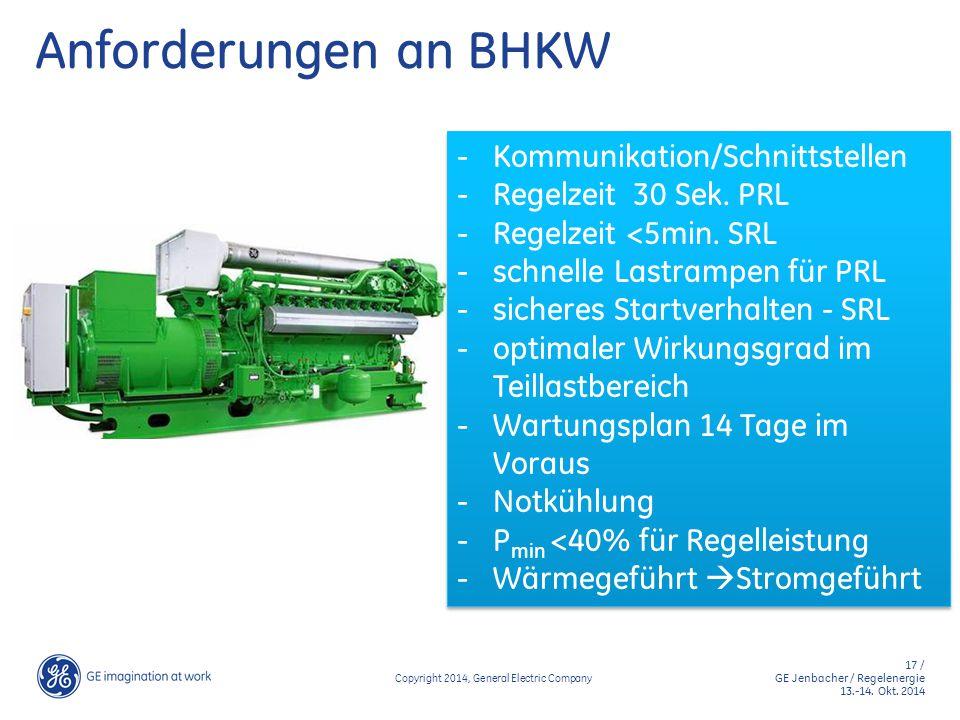 17 / GE Jenbacher / Regelenergie 13.-14. Okt. 2014 Copyright 2014, General Electric Company Anforderungen an BHKW - Kommunikation/Schnittstellen - Reg