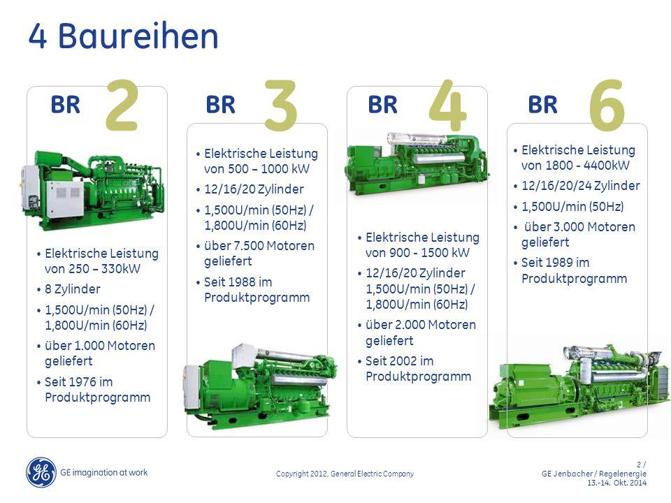 2 / GE Jenbacher / Regelenergie 13.-14. Okt. 2014 Copyright 2014, General Electric Company 4 Baureihen Elektrische Leistung von 250 – 330kW 8 Zylinder