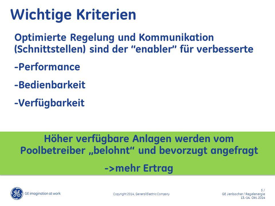 5 / GE Jenbacher / Regelenergie 13.-14. Okt. 2014 Copyright 2014, General Electric Company Wichtige Kriterien Optimierte Regelung und Kommunikation (S