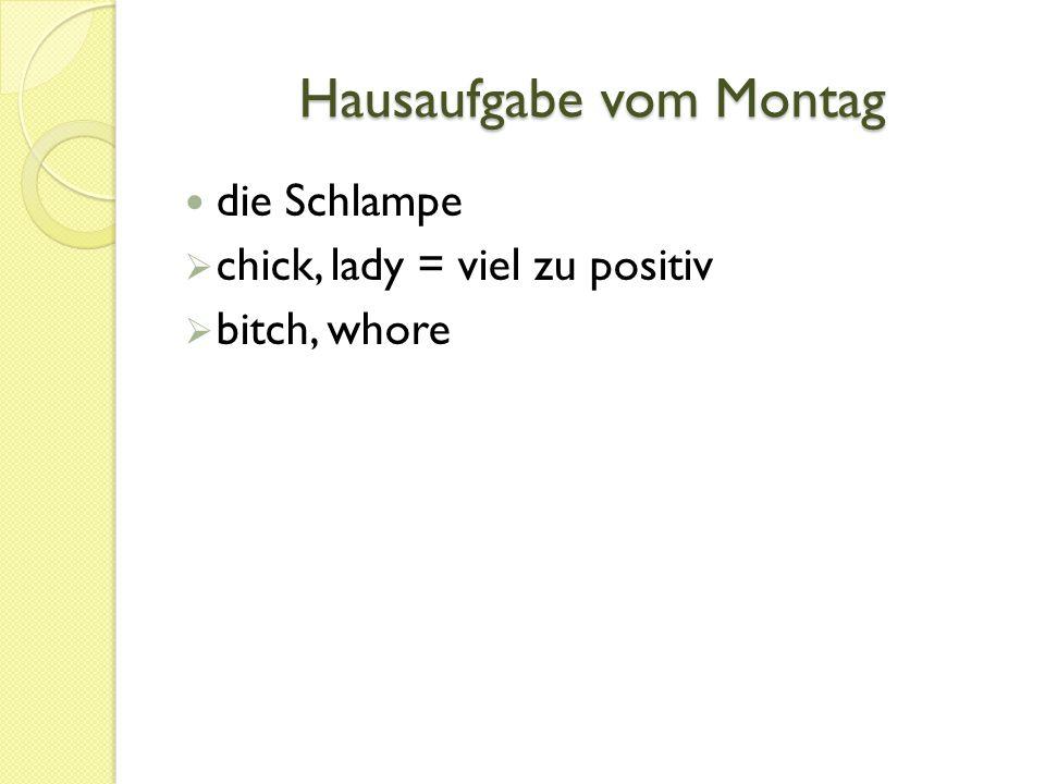 Hausaufgabe vom Montag die Schlampe  chick, lady = viel zu positiv  bitch, whore
