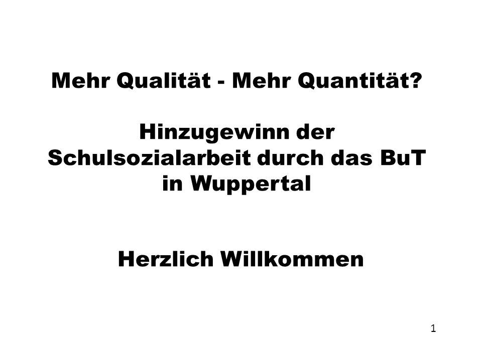 Mehr Qualität - Mehr Quantität? Hinzugewinn der Schulsozialarbeit durch das BuT in Wuppertal Herzlich Willkommen 1