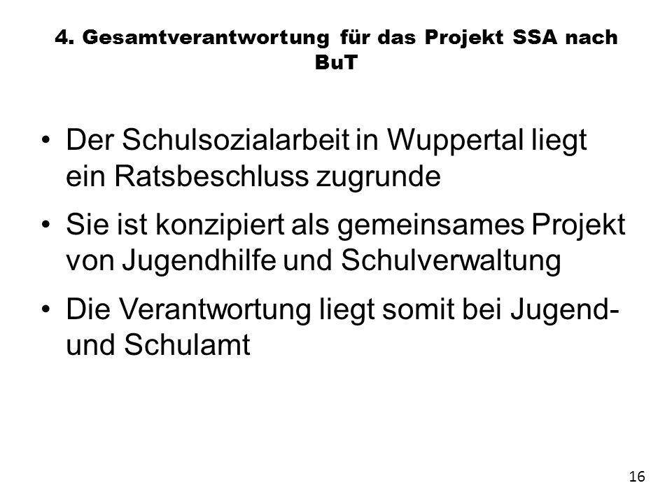4. Gesamtverantwortung für das Projekt SSA nach BuT Der Schulsozialarbeit in Wuppertal liegt ein Ratsbeschluss zugrunde Sie ist konzipiert als gemeins