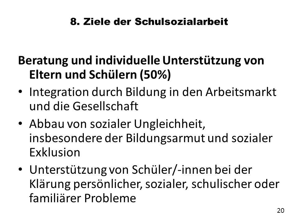 8. Ziele der Schulsozialarbeit Beratung und individuelle Unterstützung von Eltern und Schülern (50%) Integration durch Bildung in den Arbeitsmarkt und