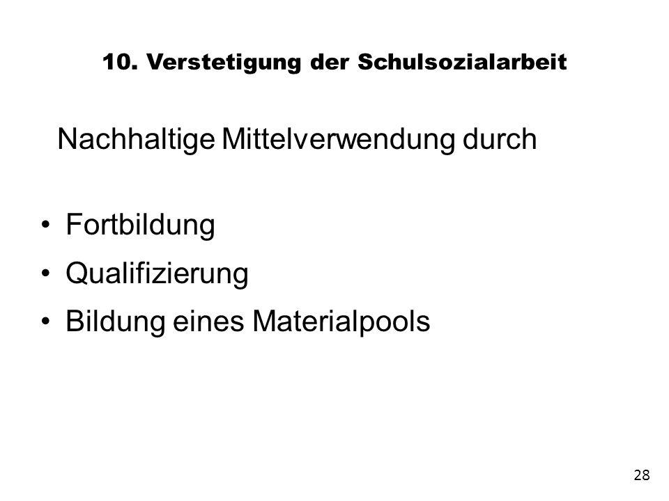 10. Verstetigung der Schulsozialarbeit Nachhaltige Mittelverwendung durch Fortbildung Qualifizierung Bildung eines Materialpools 28
