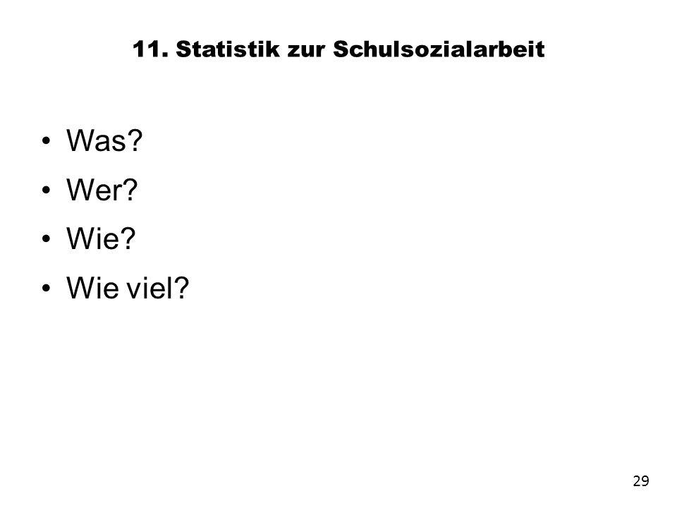 11. Statistik zur Schulsozialarbeit Was? Wer? Wie? Wie viel? 29