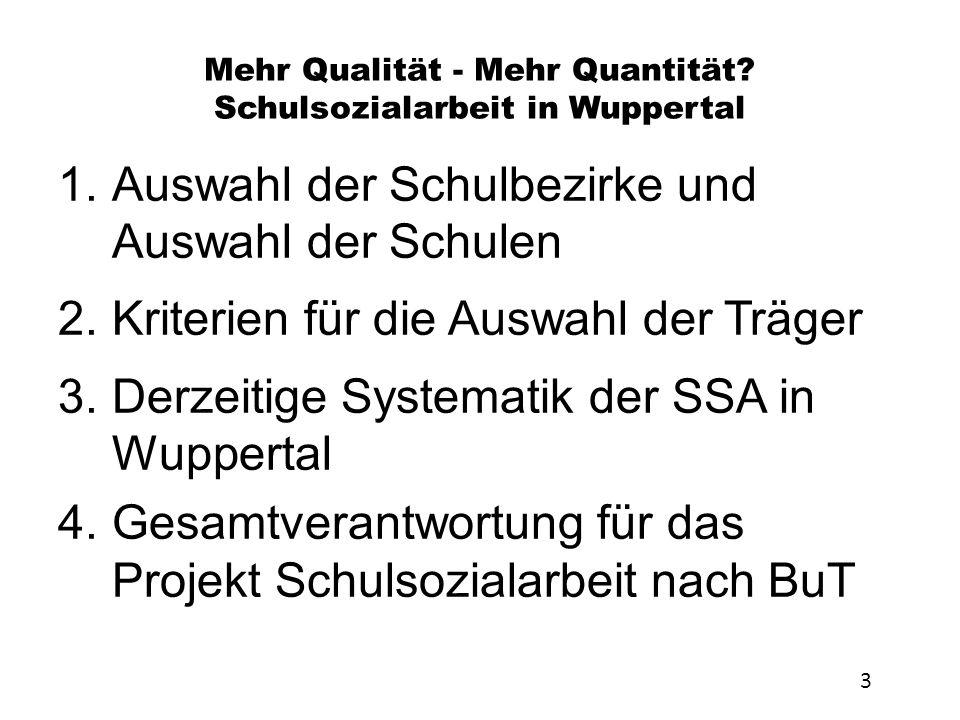 Mehr Qualität - Mehr Quantität? Schulsozialarbeit in Wuppertal 1.Auswahl der Schulbezirke und Auswahl der Schulen 2.Kriterien für die Auswahl der Träg
