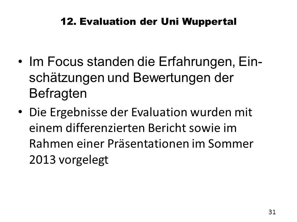 12. Evaluation der Uni Wuppertal Im Focus standen die Erfahrungen, Ein- schätzungen und Bewertungen der Befragten Die Ergebnisse der Evaluation wurden