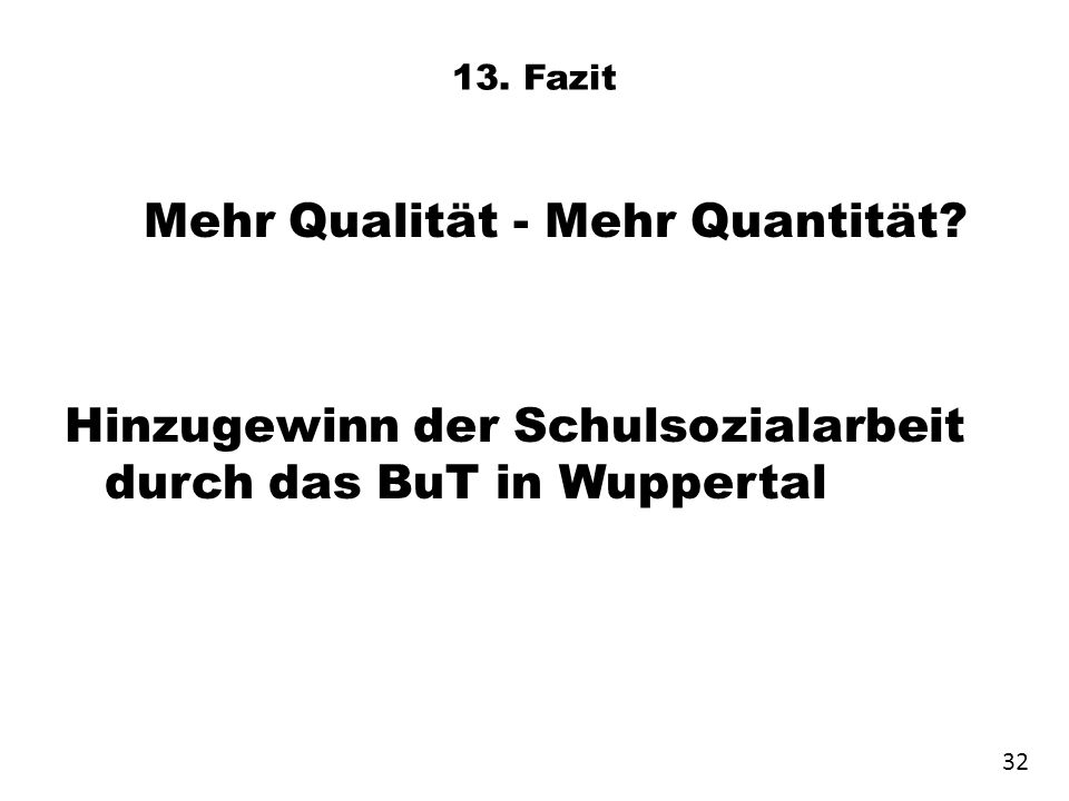 13. Fazit Mehr Qualität - Mehr Quantität? Hinzugewinn der Schulsozialarbeit durch das BuT in Wuppertal 32
