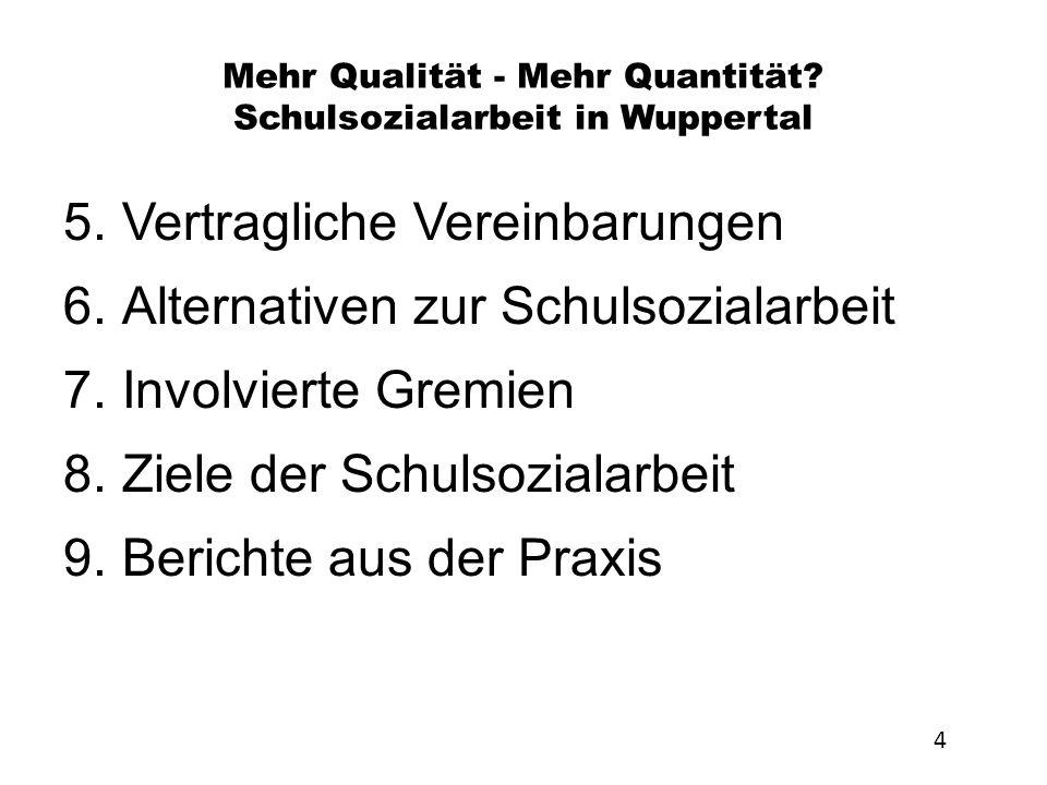 Mehr Qualität - Mehr Quantität? Schulsozialarbeit in Wuppertal 5.Vertragliche Vereinbarungen 6.Alternativen zur Schulsozialarbeit 7.Involvierte Gremie