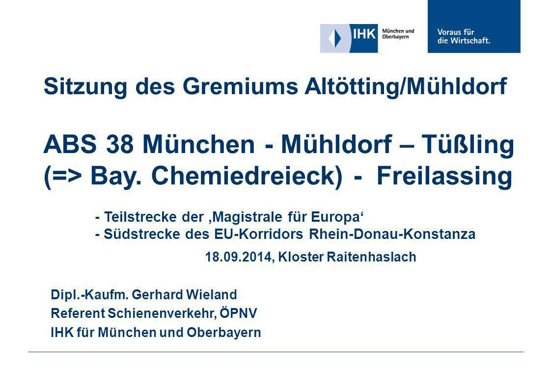 Sitzung des Gremiums Altötting/Mühldorf ABS 38 München - Mühldorf – Tüßling (=> Bay. Chemiedreieck) - Freilassing - Teilstrecke der 'Magistrale für Eu