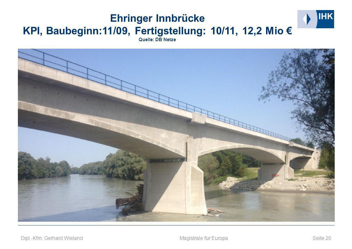 Ehringer Innbrücke KPI, Baubeginn:11/09, Fertigstellung: 10/11, 12,2 Mio € Quelle: DB Netze Seite 20 Magistrale für Europa Dipl.-Kfm. Gerhard Wieland
