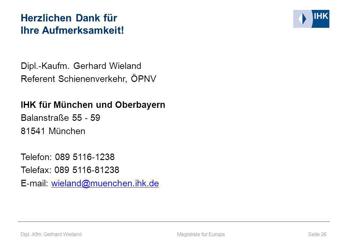 Herzlichen Dank für Ihre Aufmerksamkeit! Dipl.-Kaufm. Gerhard Wieland Referent Schienenverkehr, ÖPNV IHK für München und Oberbayern Balanstraße 55 - 5