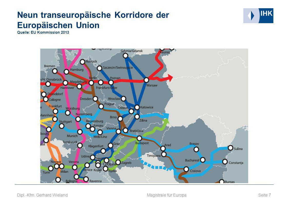 Neun transeuropäische Korridore der Europäischen Union Quelle: EU Kommission 2013 Seite 7 Magistrale für Europa Dipl.-Kfm. Gerhard Wieland
