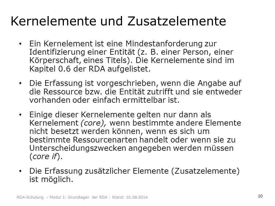 20 Kernelemente und Zusatzelemente Ein Kernelement ist eine Mindestanforderung zur Identifizierung einer Entität (z. B. einer Person, einer Körperscha