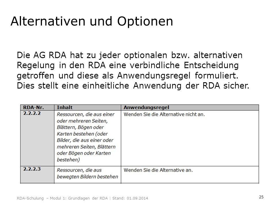 25 Alternativen und Optionen Die AG RDA hat zu jeder optionalen bzw. alternativen Regelung in den RDA eine verbindliche Entscheidung getroffen und die