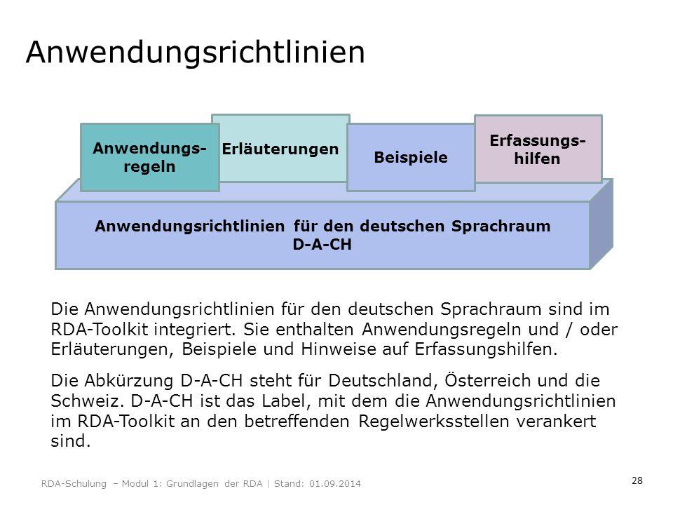 28 Anwendungsrichtlinien RDA-Schulung – Modul 1: Grundlagen der RDA | Stand: 01.09.2014 Anwendungsrichtlinien für den deutschen Sprachraum D-A-CH Erlä