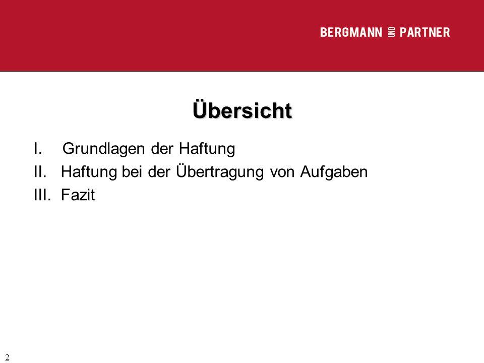 (C) RA Dr. Max Middendorf 2 Übersicht I.Grundlagen der Haftung II.Haftung bei der Übertragung von Aufgaben III.Fazit