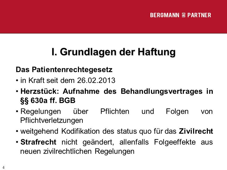 (C) RA Dr. Max Middendorf 4 I. Grundlagen der Haftung Das Patientenrechtegesetz in Kraft seit dem 26.02.2013 Herzstück: Aufnahme des Behandlungsvertra