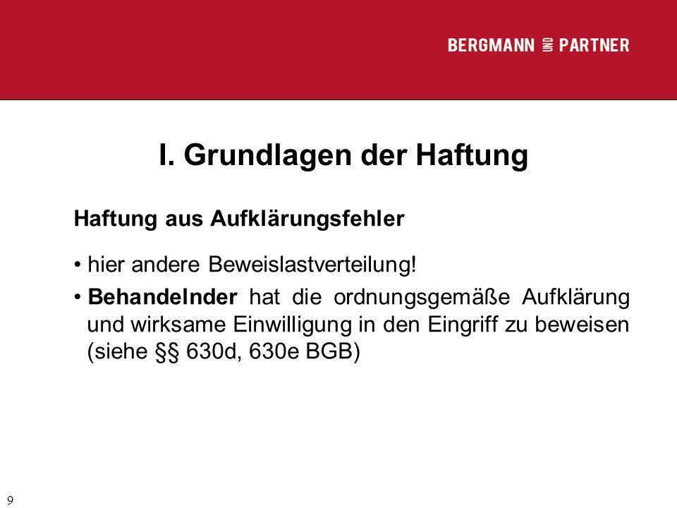 (C) RA Dr. Max Middendorf 9 I. Grundlagen der Haftung Haftung aus Aufklärungsfehler hier andere Beweislastverteilung! Behandelnder hat die ordnungsgem