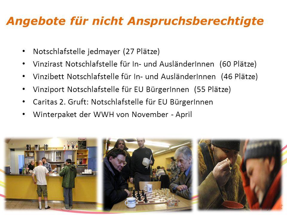 www.suchthilfe.at Notschlafstelle jedmayer (27 Plätze) Vinzirast Notschlafstelle für In- und AusländerInnen (60 Plätze) Vinzibett Notschlafstelle für In- und AusländerInnen (46 Plätze) Vinziport Notschlafstelle für EU BürgerInnen (55 Plätze) Caritas 2.