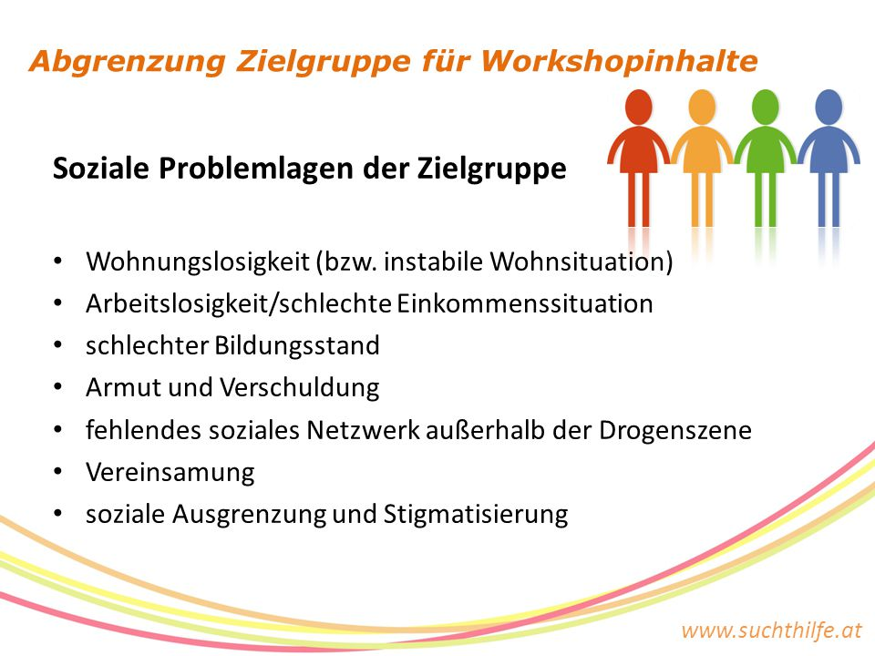www.suchthilfe.at Abgrenzung Zielgruppe für Workshopinhalte Soziale Problemlagen der Zielgruppe Wohnungslosigkeit (bzw. instabile Wohnsituation) Arbei