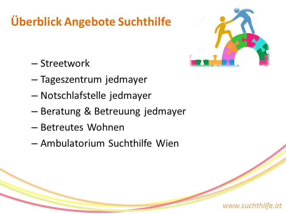 www.suchthilfe.at – Streetwork – Tageszentrum jedmayer – Notschlafstelle jedmayer – Beratung & Betreuung jedmayer – Betreutes Wohnen – Ambulatorium Su