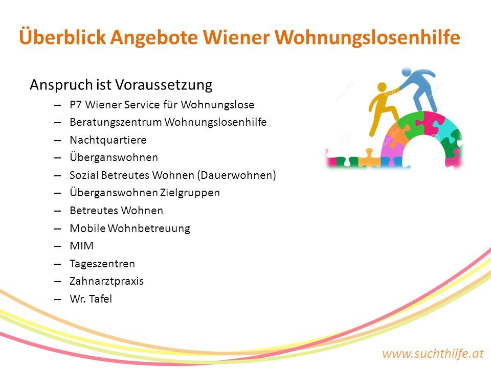 www.suchthilfe.at Anspruch ist Voraussetzung – P7 Wiener Service für Wohnungslose – Beratungszentrum Wohnungslosenhilfe – Nachtquartiere – Überganswoh