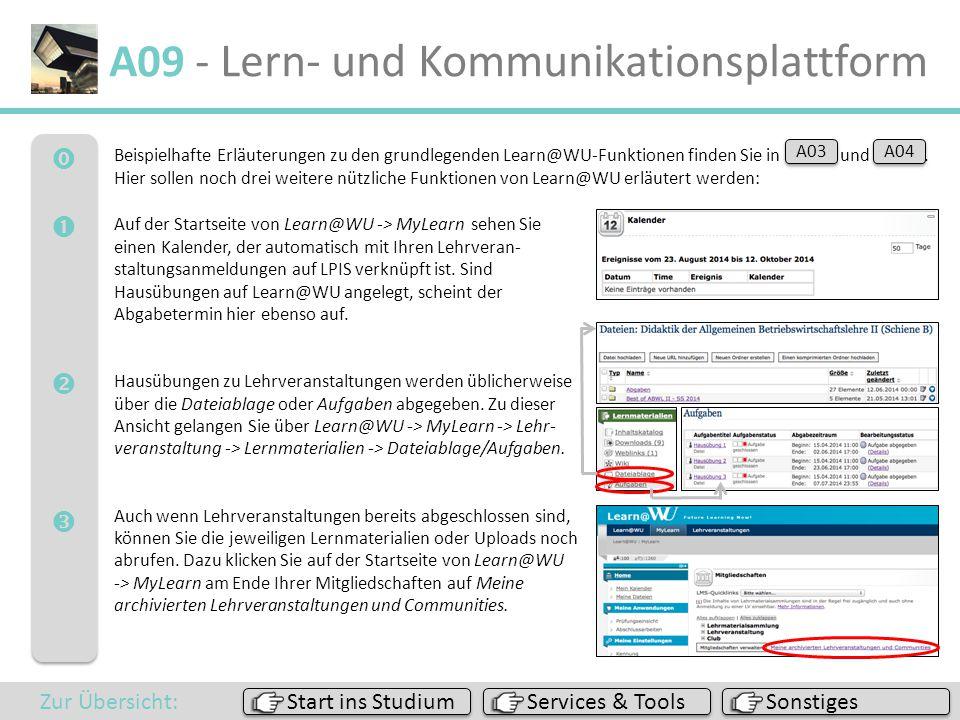  A09 - Lern- und Kommunikationsplattform Beispielhafte Erläuterungen zu den grundlegenden Learn@WU-Funktionen finden Sie in A03 und A04.. Hier