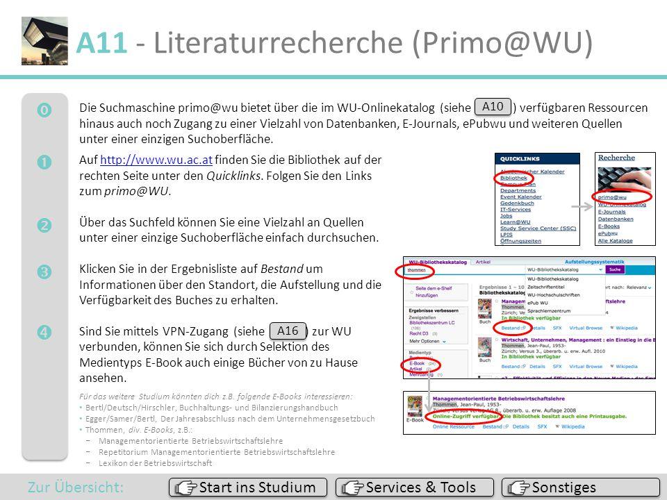  A11 - Literaturrecherche (Primo@WU) Die Suchmaschine primo@wu bietet über die im WU-Onlinekatalog (siehe A10 ) verfügbaren Ressourcen hinau