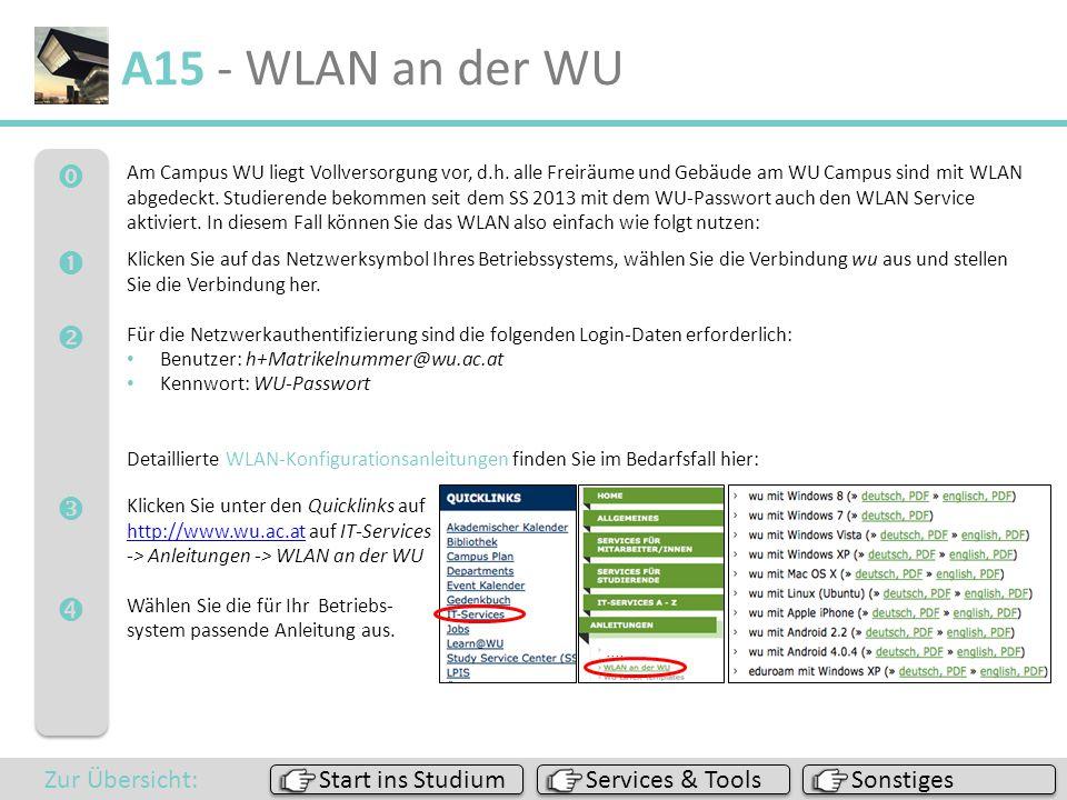  A15 - WLAN an der WU Sonstiges Services & Tools Start ins Studium Zur Übersicht: Am Campus WU liegt Vollversorgung vor, d.h. alle Freiräume