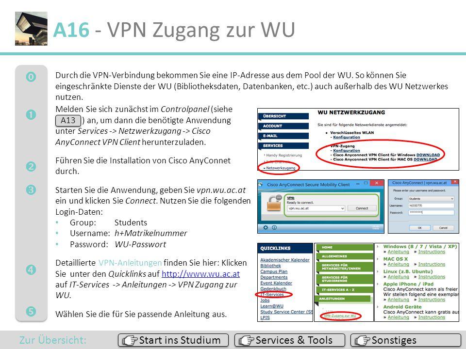  A16 - VPN Zugang zur WU Sonstiges Services & Tools Start ins Studium Zur Übersicht: Durch die VPN-Verbindung bekommen Sie eine IP-Adresse
