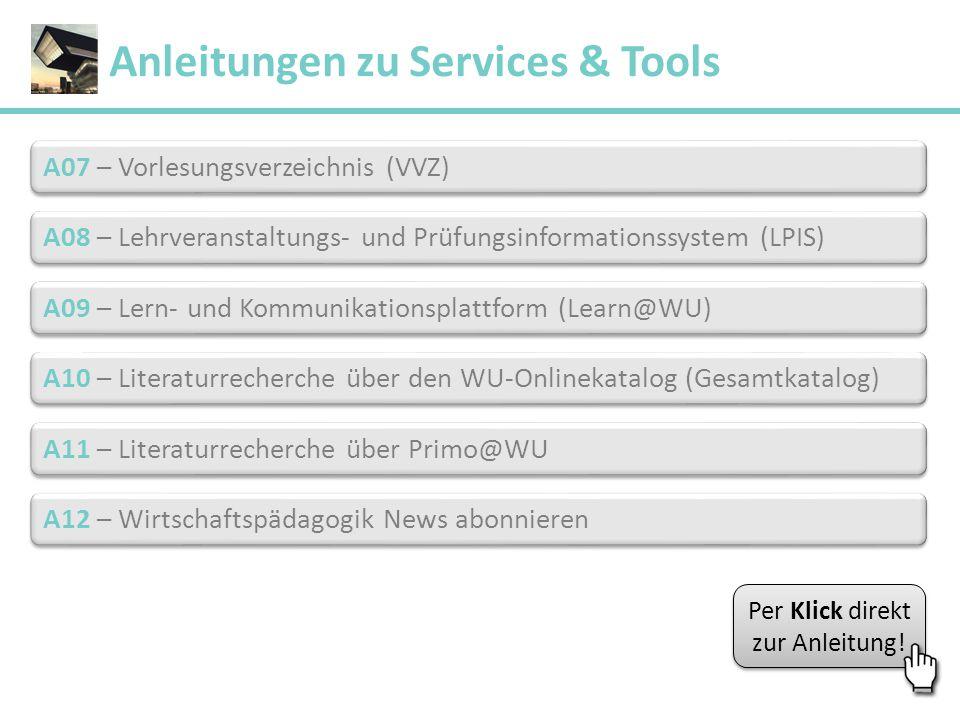 A07 – Vorlesungsverzeichnis (VVZ) A07 – Vorlesungsverzeichnis (VVZ) A08 – Lehrveranstaltungs- und Prüfungsinformationssystem (LPIS) A08 – Lehrveransta