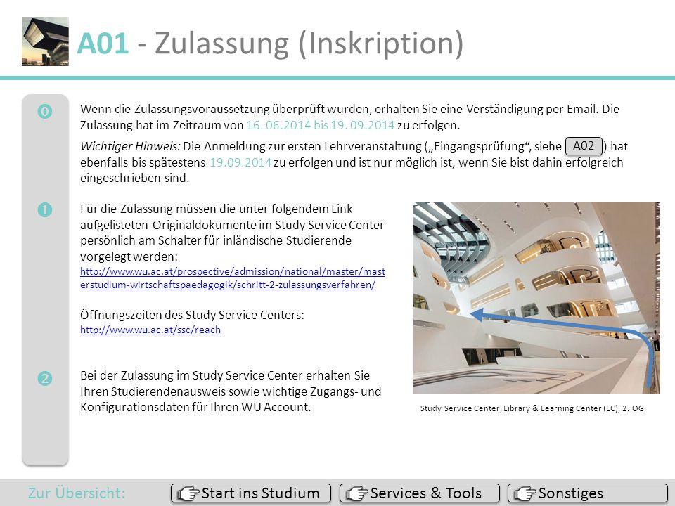  A01 - Zulassung (Inskription) Sonstiges Services & Tools Start ins Studium Zur Übersicht: Wenn die Zulassungsvoraussetzung überprüft wurden, er