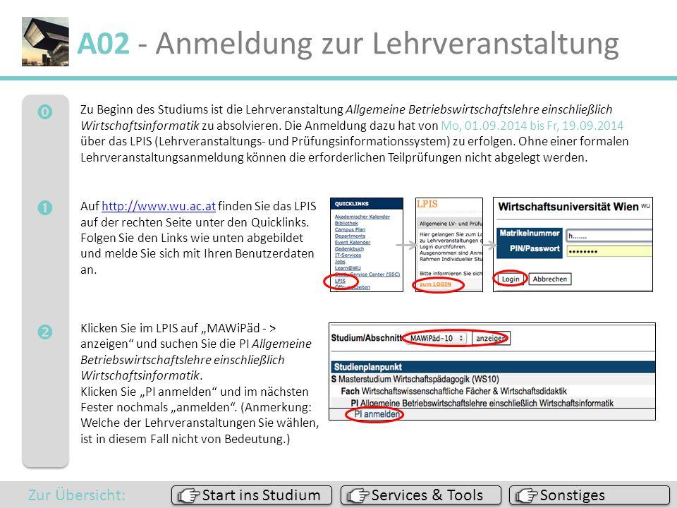  A02 - Anmeldung zur Lehrveranstaltung Auf http://www.wu.ac.at finden Sie das LPIS auf der rechten Seite unter den Quicklinks. Folgen Sie den Li
